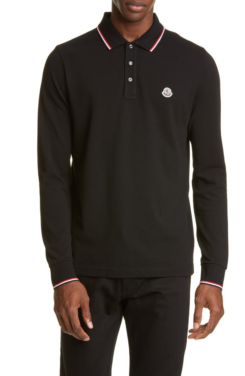 MONCLER Tipped Long Sleeve Piqué Polo, Main, color, 001