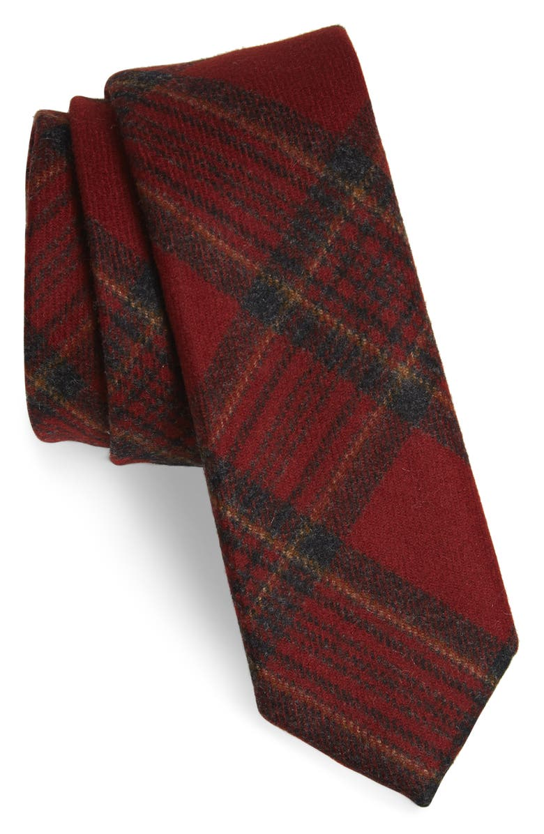 THE TIE BAR Barberis Plaid Wool Tie, Main, color, RED