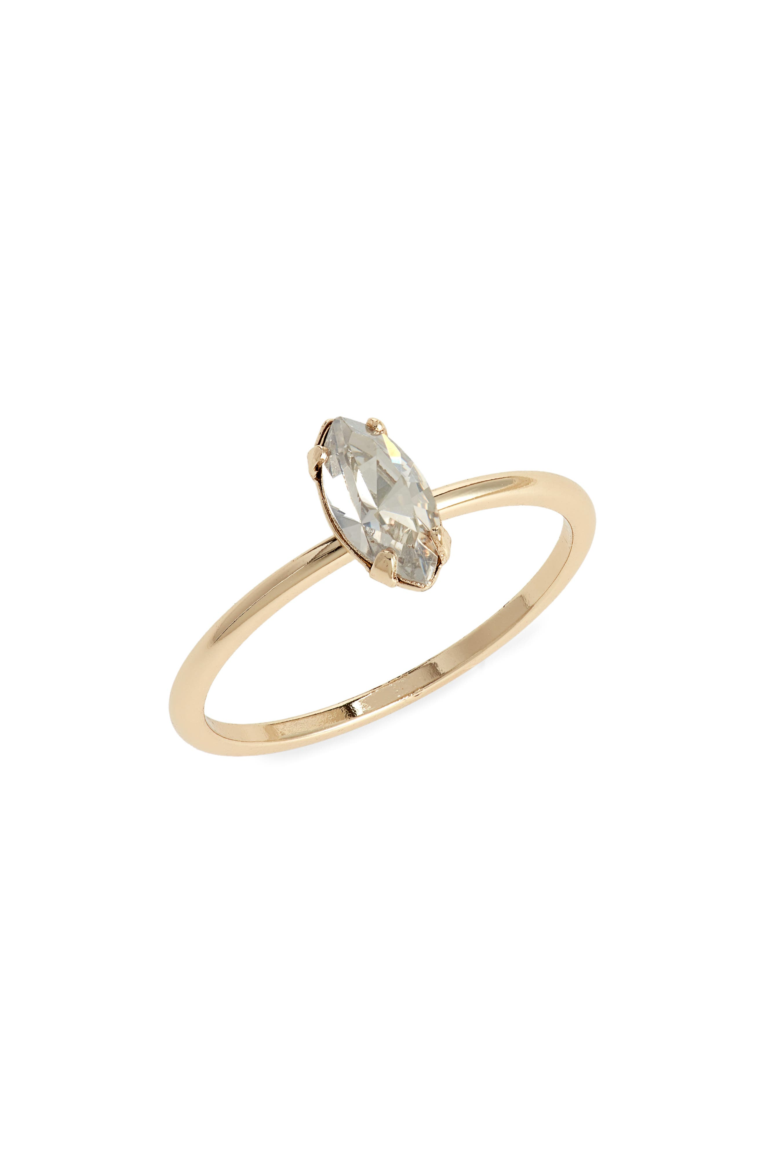 Tiny Marquise Crystal Ring