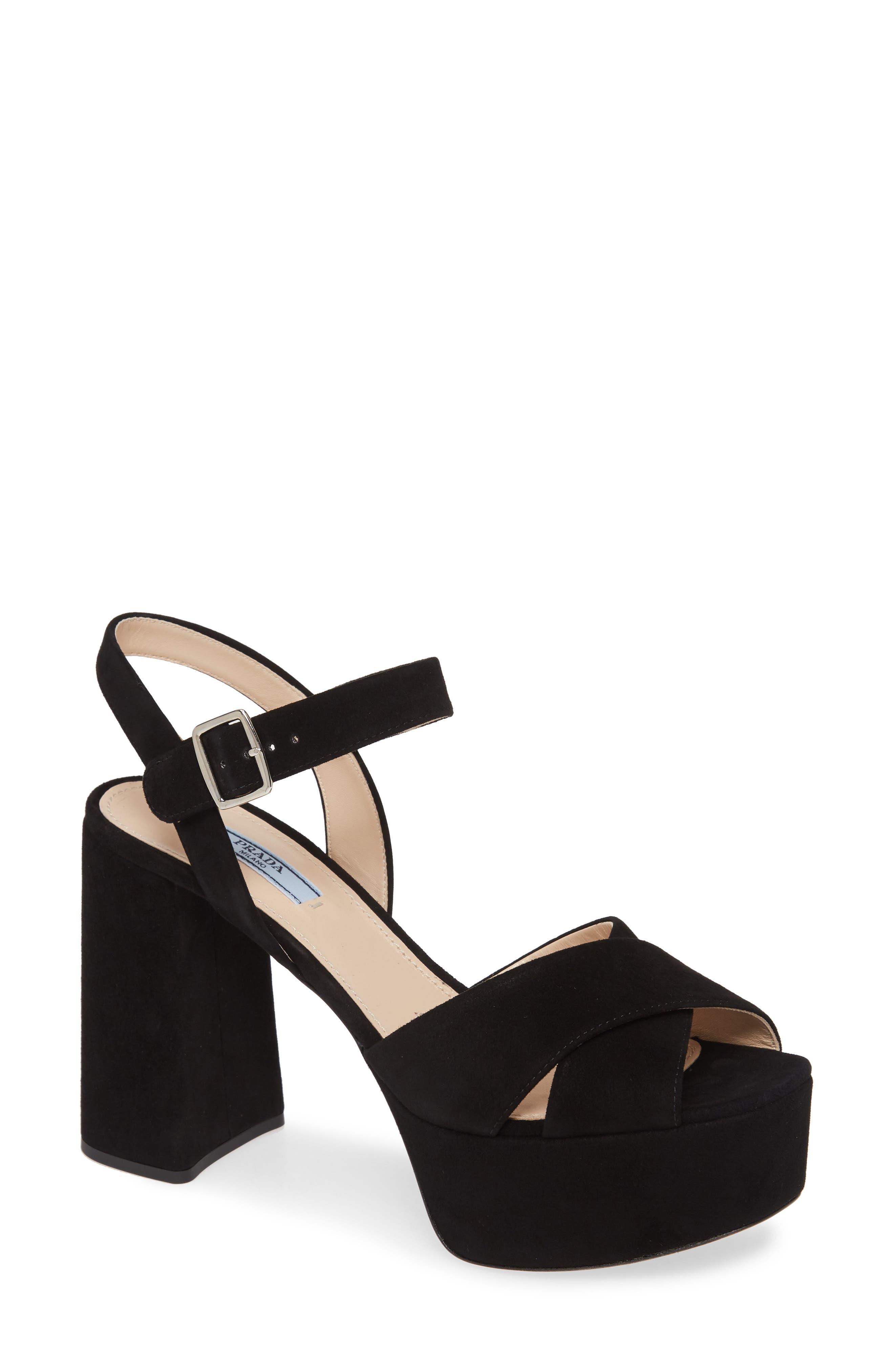 Prada Suede Platform Sandal (Women