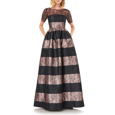 Kay Unger Alexis Stripe Floral Lace Ballgown, Black