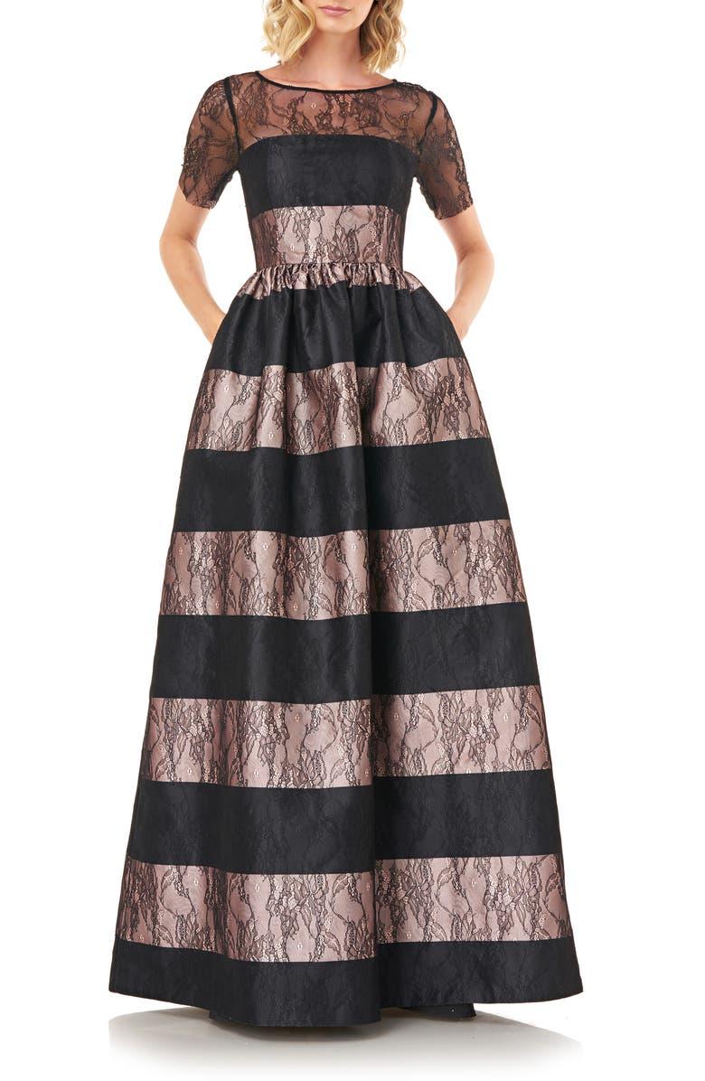 KAY UNGER Alexis Stripe Floral Lace Ballgown, Main, color, CHAMPAGNE/ BLACK