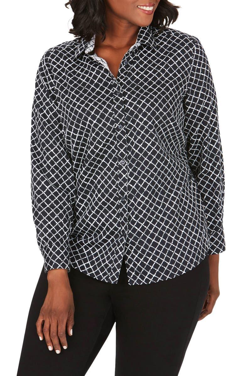 FOXCROFT Ava Diamond Pattern Cotton Sateen Button-Up Shirt, Main, color, BLACK