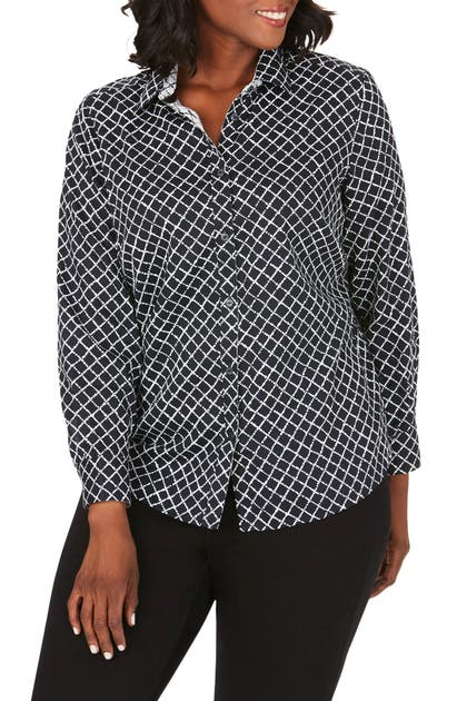 Foxcroft T-shirts AVA DIAMOND PATTERN COTTON SATEEN BUTTON-UP SHIRT