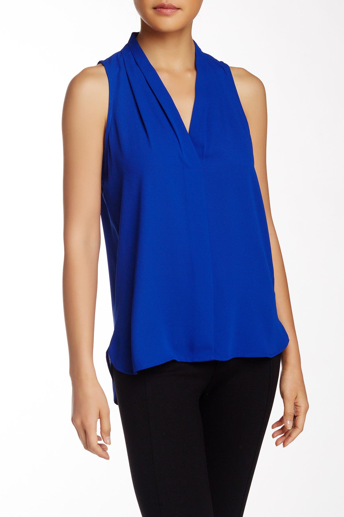Image of Vince Camuto Pleated V-Neck High/Low Tank Top