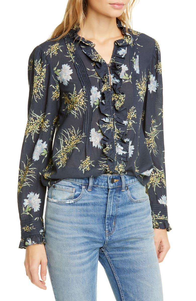 LA VIE REBECCA TAYLOR Jasmine Button-Up Top, Main, color, MIDNIGHT NAVY COMBO