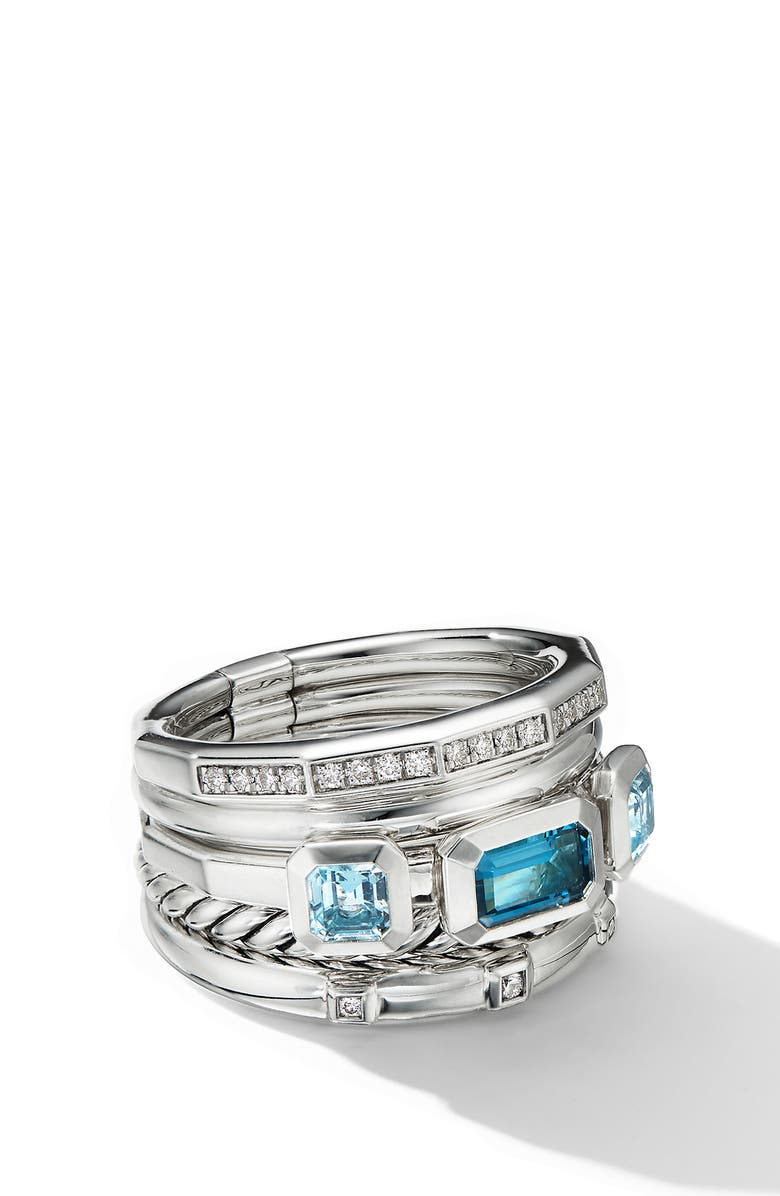 DAVID YURMAN Stax Wide Ring with Hampton Blue Topaz & Diamonds, Main, color, HAMPTON BLUE TOPAZ