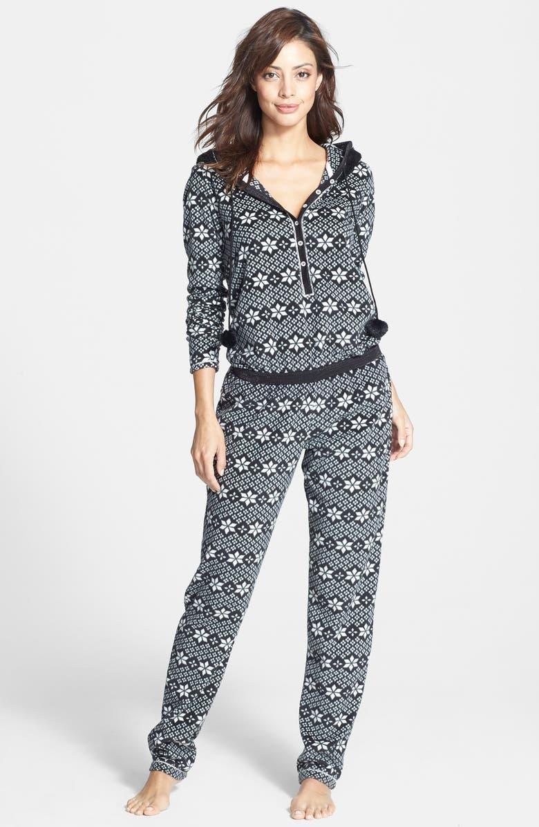 KENSIE Print Fleece Hooded Jumpsuit, Main, color, 019