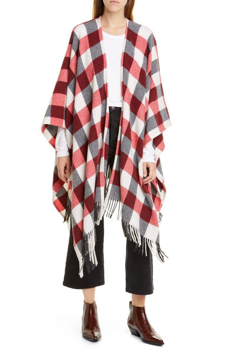 RAG & BONE Buffalo Plaid Wool Blend Cape, Main, color, REDMULT