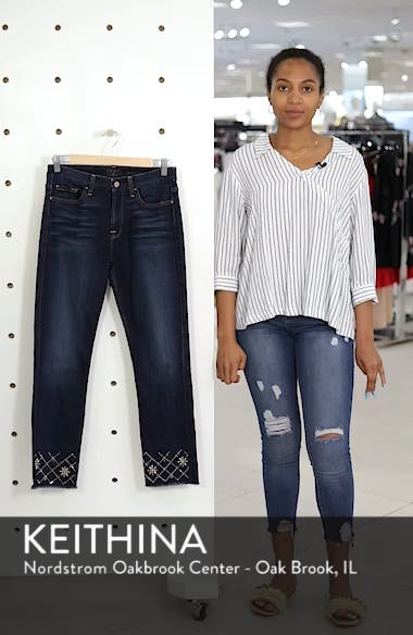 Embellished Ankle Straight Leg Jeans, sales video thumbnail