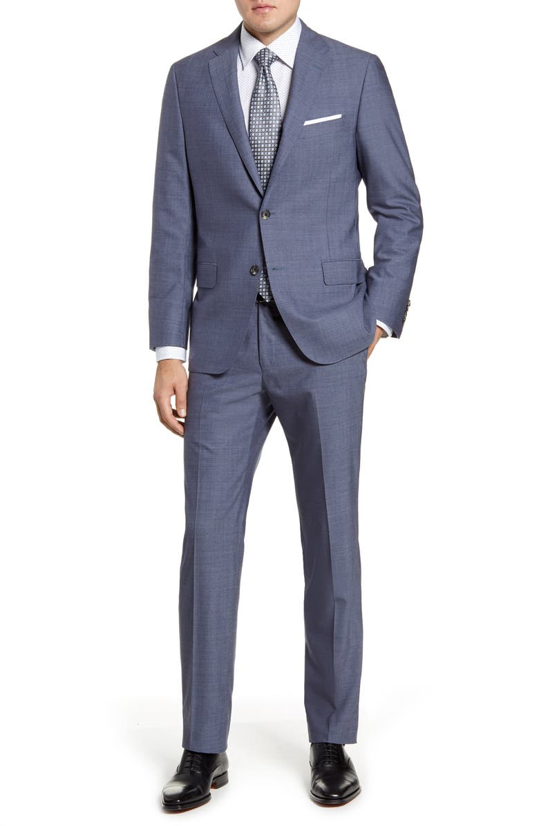 HICKEY FREEMAN Classic B Fit Chambray Wool Suit, Main, color, MEDIUM BLUE