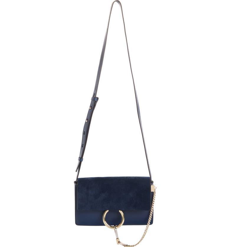 CHLOÉ Small Faye Leather Crossbody Bag, Main, color, DEEP OCEAN