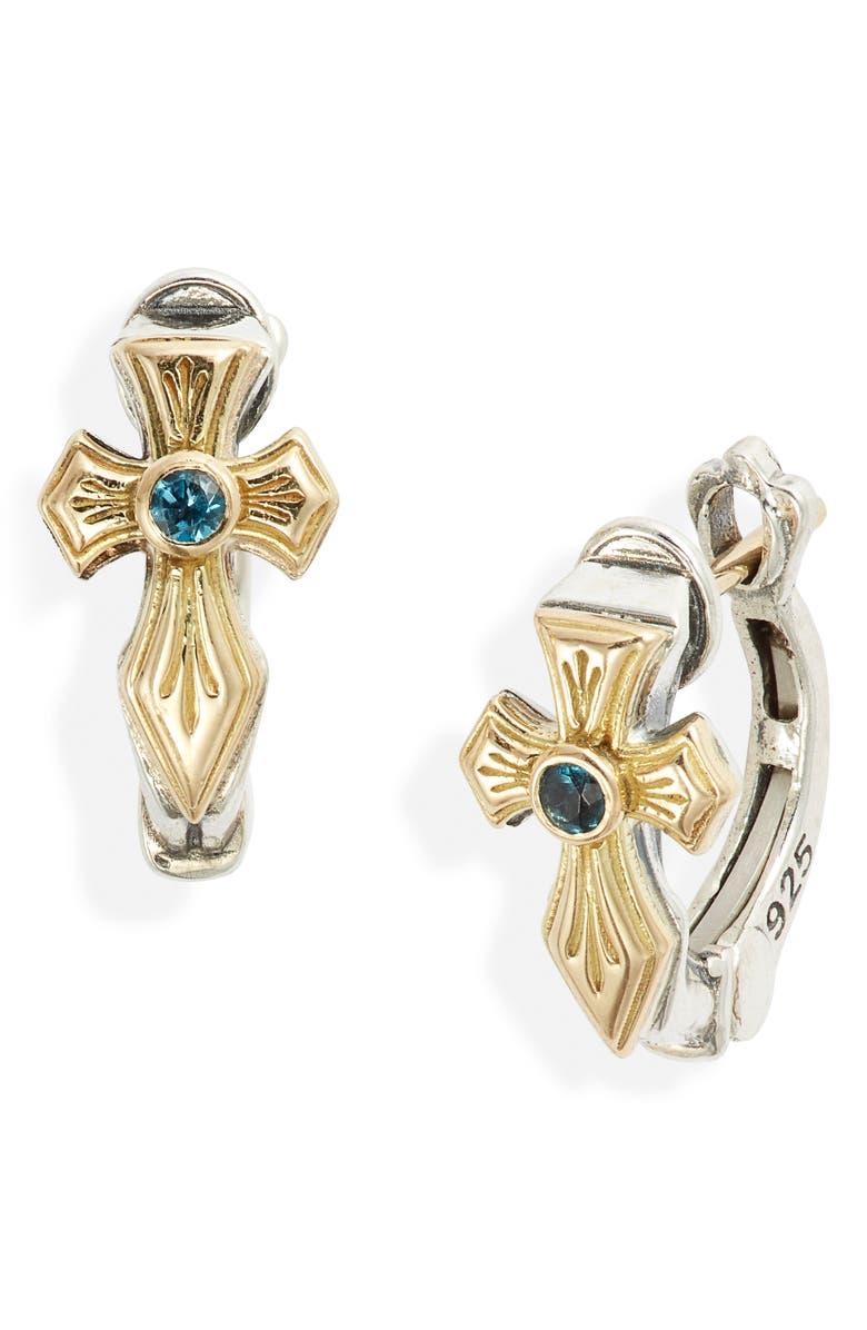 KONSTANTINO Kleos Blue Topaz Cross Hoop Earrings, Main, color, BLUE TOPAZ