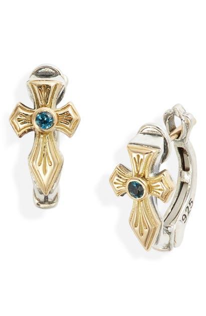 Konstantino Kleos Blue Topaz Cross Hoop Earrings