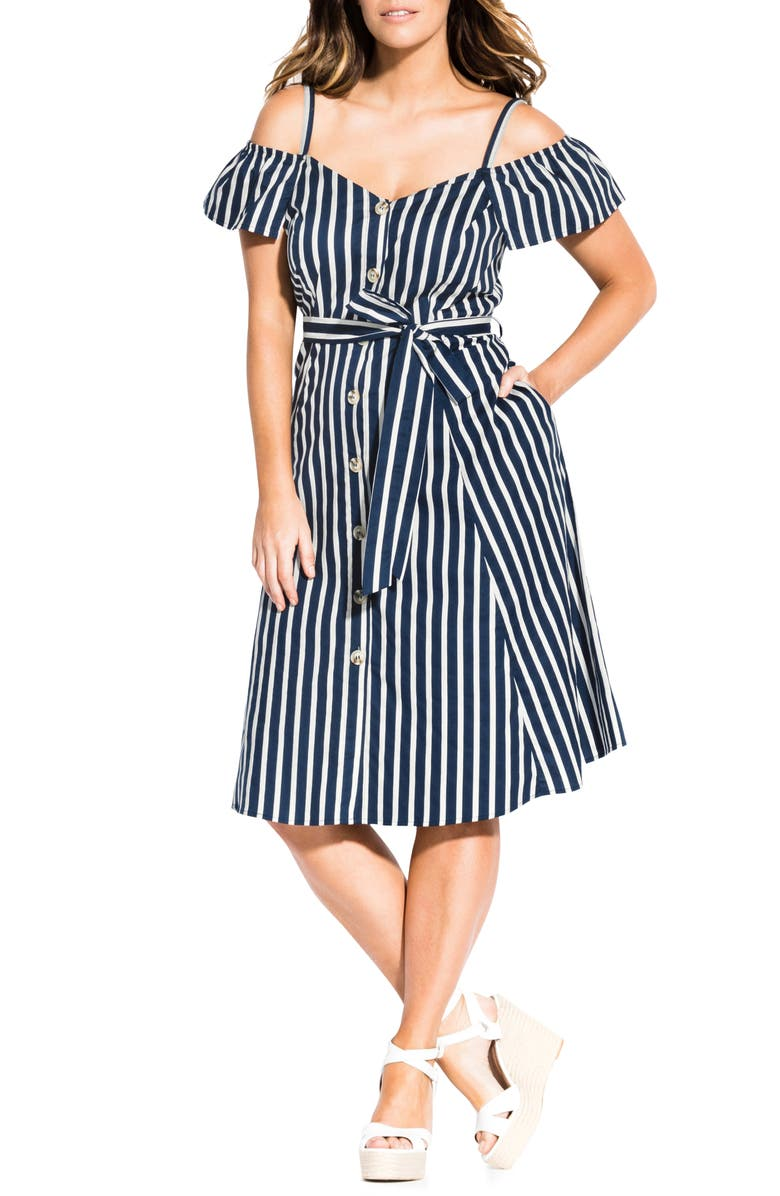 CITY CHIC Stripe Affair Cold Shoulder Stretch Cotton Dress, Main, color, WHITE STRIPE