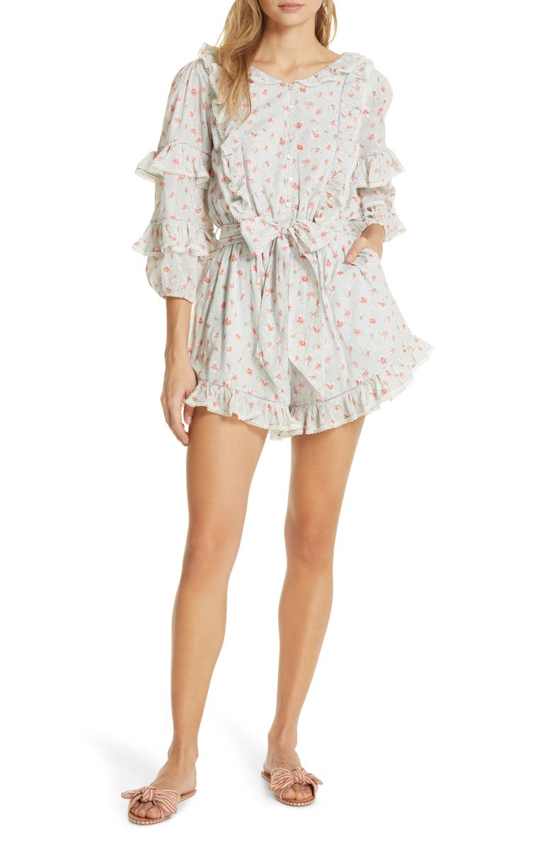 LOVE SAM Floral Print Ruffle Romper, Main, color, 100