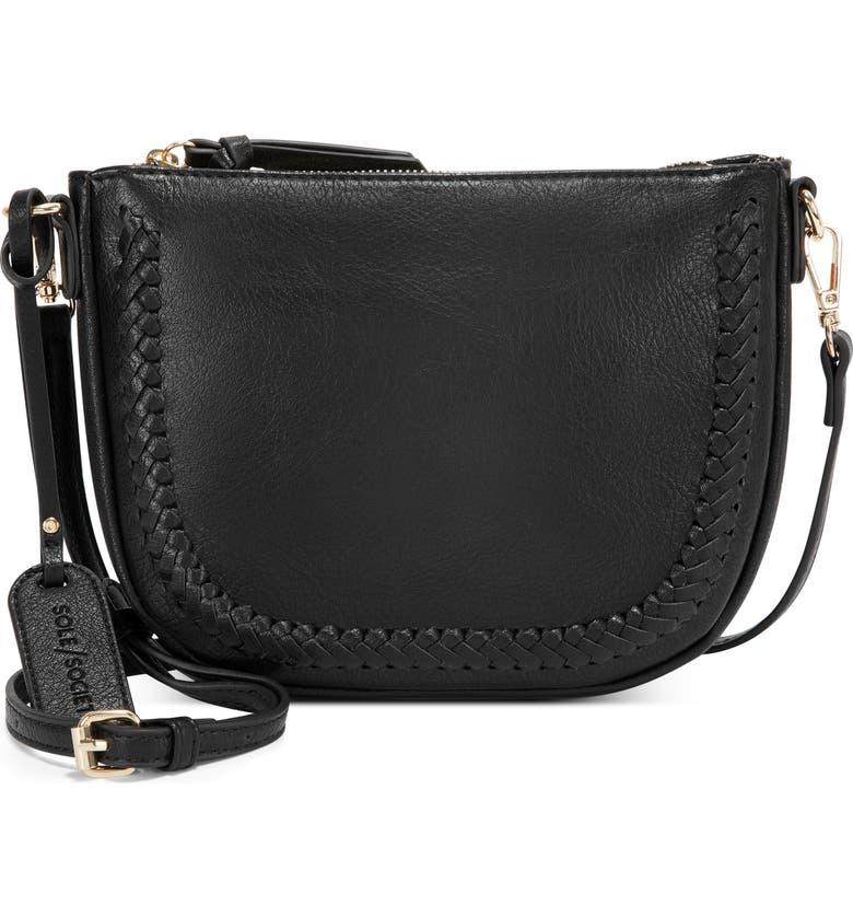 SOLE SOCIETY Riza Faux Leather Crossbody Bag, Main, color, BLACK