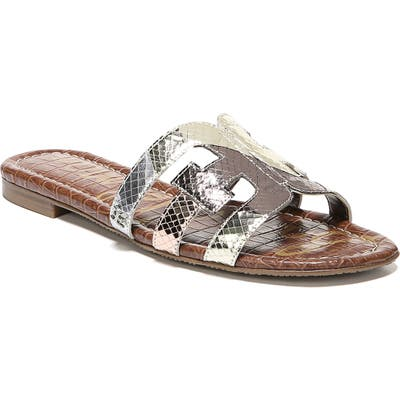 Sam Edelman Bay Cutout Slide Sandal, Metallic