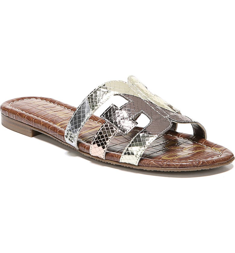 SAM EDELMAN Bay Cutout Slide Sandal, Main, color, METALLIC EMBOSSED LEATHER