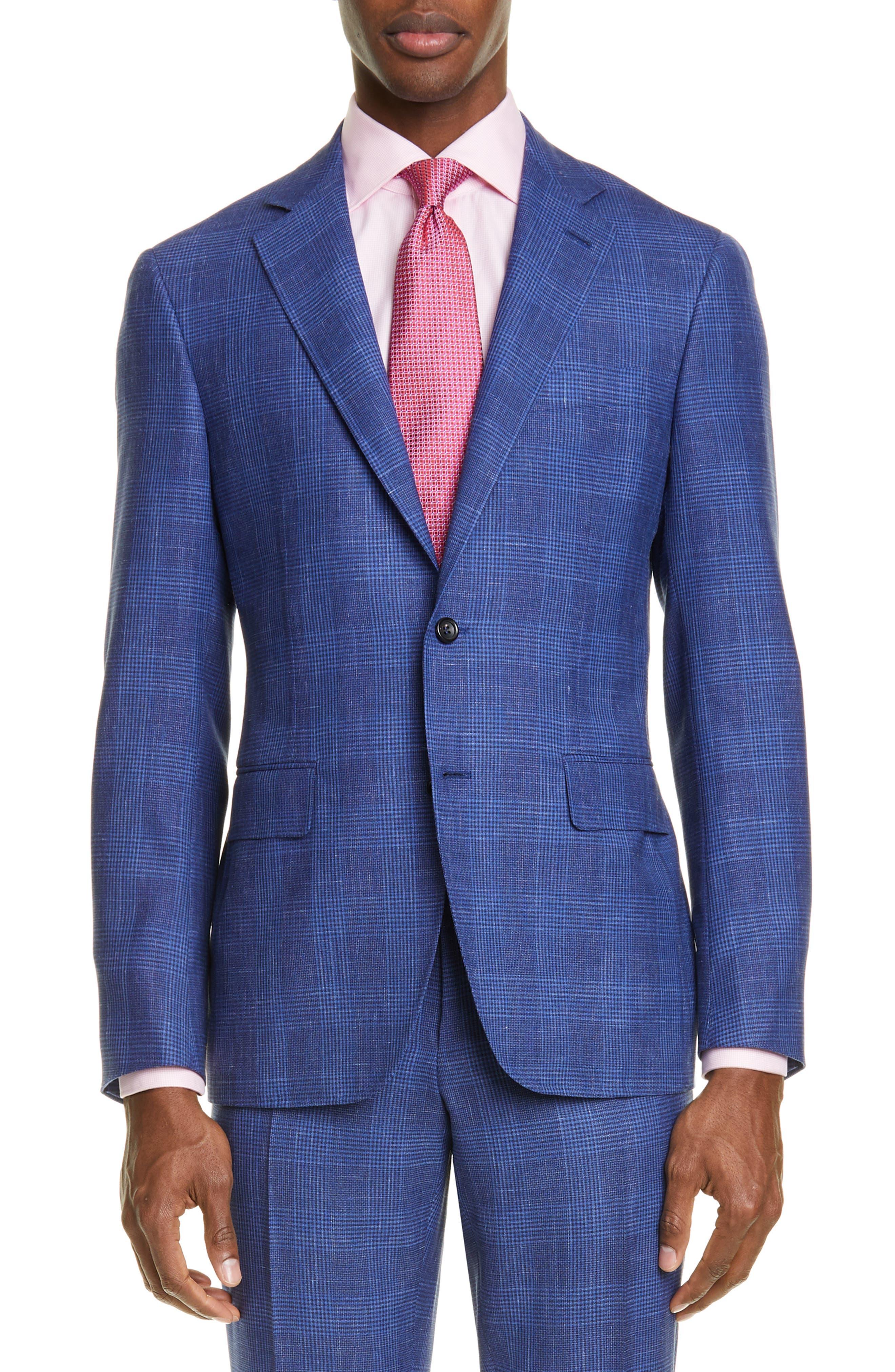 ,                             Kei Trim Fit Plaid Wool Blend Suit,                             Alternate thumbnail 5, color,                             BRIGHT BLUE