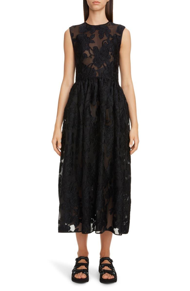 CECILIE BAHNSEN Emma Floral Jacquard Midi Dress, Main, color, BLACK