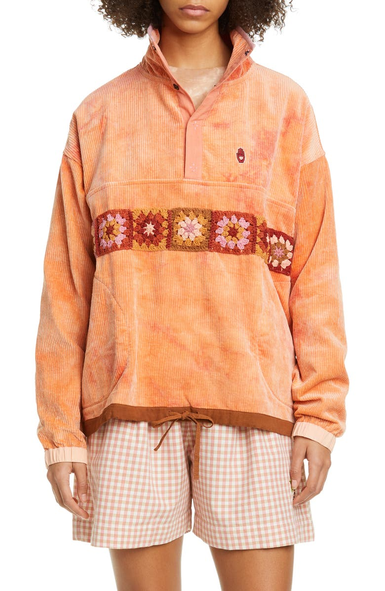 STORY MFG. Polite Crochet Trim Tie Dye Organic Cotton Corduroy Pullover, Main, color, 650