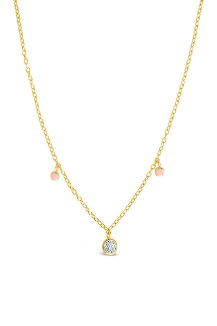 Image of Sterling Forever 14K Gold Vermeil Plated Sterling Silver Blush Enamel & CZ Charm Necklace