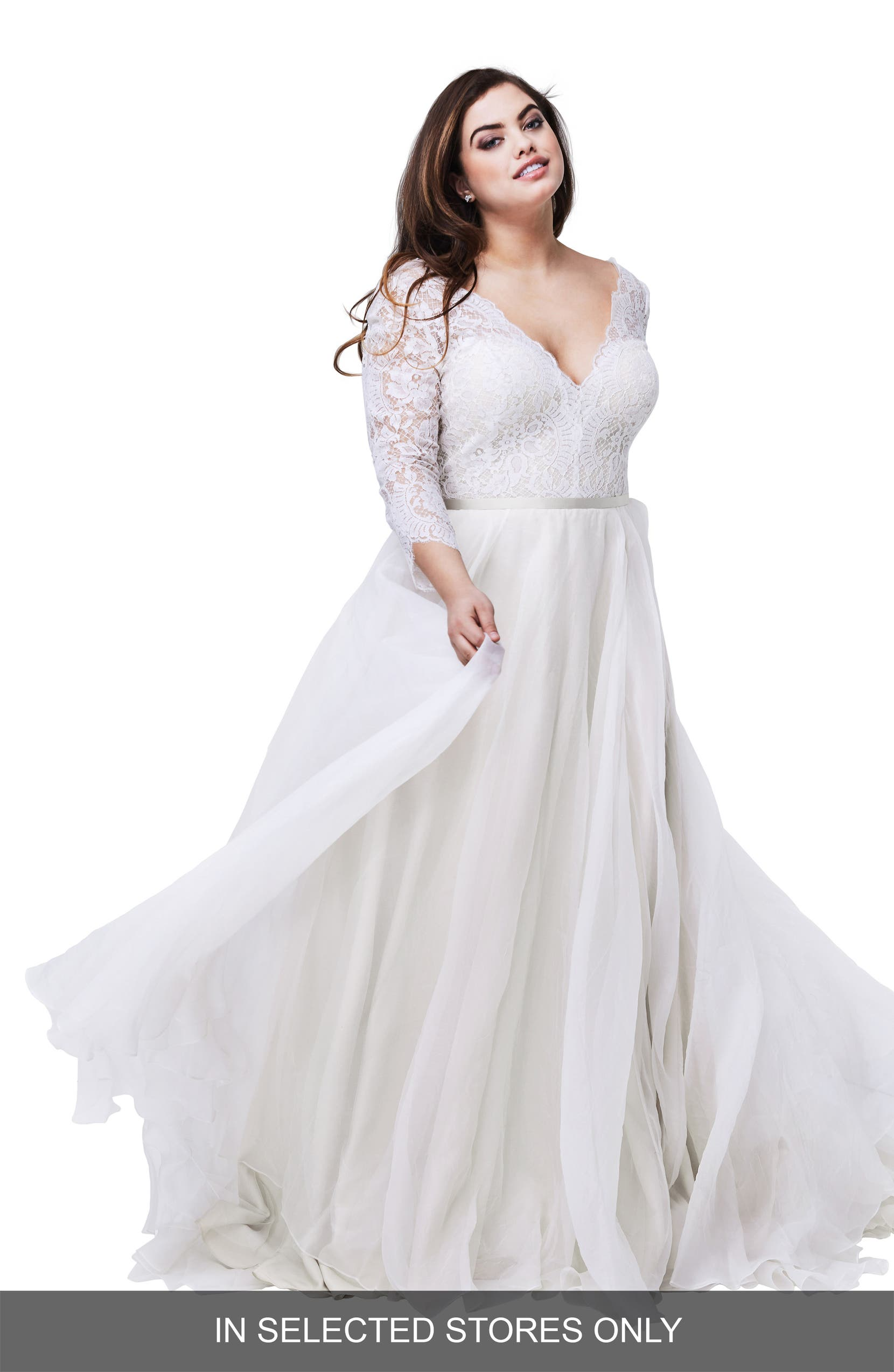 Watters Shiloh Lace & Silk Organza A-Line Gown (Plus Size ...