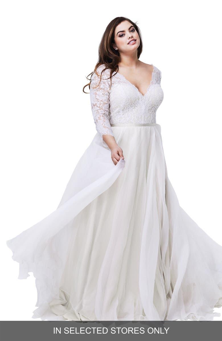 Watters Shiloh Lace & Silk Organza A-Line Gown (Plus Size ...