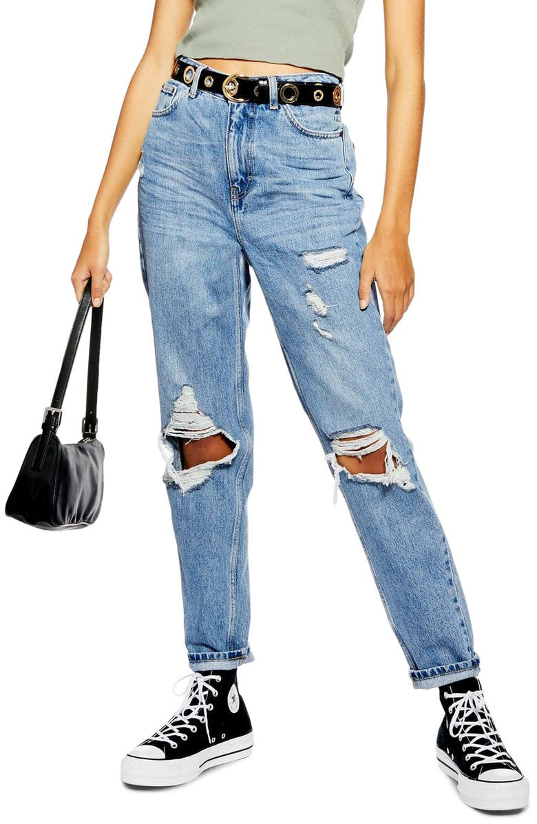 TOPSHOP Distressed Ripped Jeans, Main, color, MID DENIM