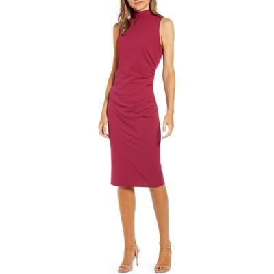 Chelsea28 Mock Neck Sheath Dress, Burgundy