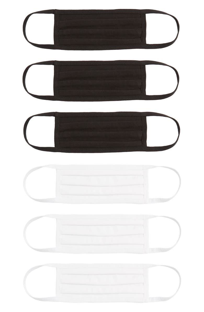 NORDSTROM 6-Pack Adult Pleated Cotton Face Masks, Main, color, BLACK/WHITE
