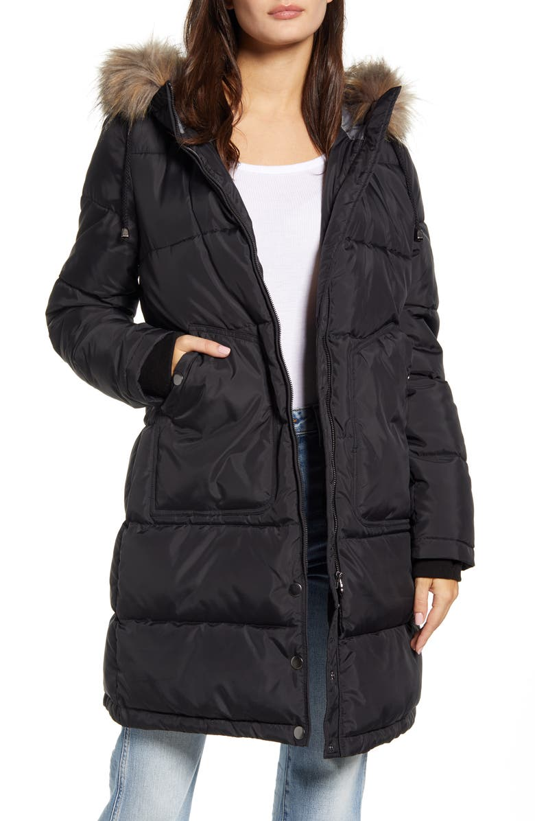 MARALYN & ME Faux Fur Trim Longline Puffer Jacket, Main, color, 001
