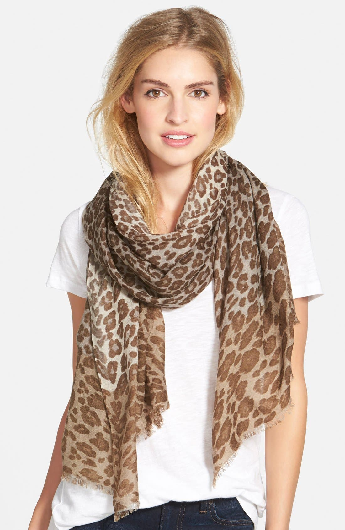 ,                             'Luxe Animal' Challis Scarf,                             Main thumbnail 4, color,                             200