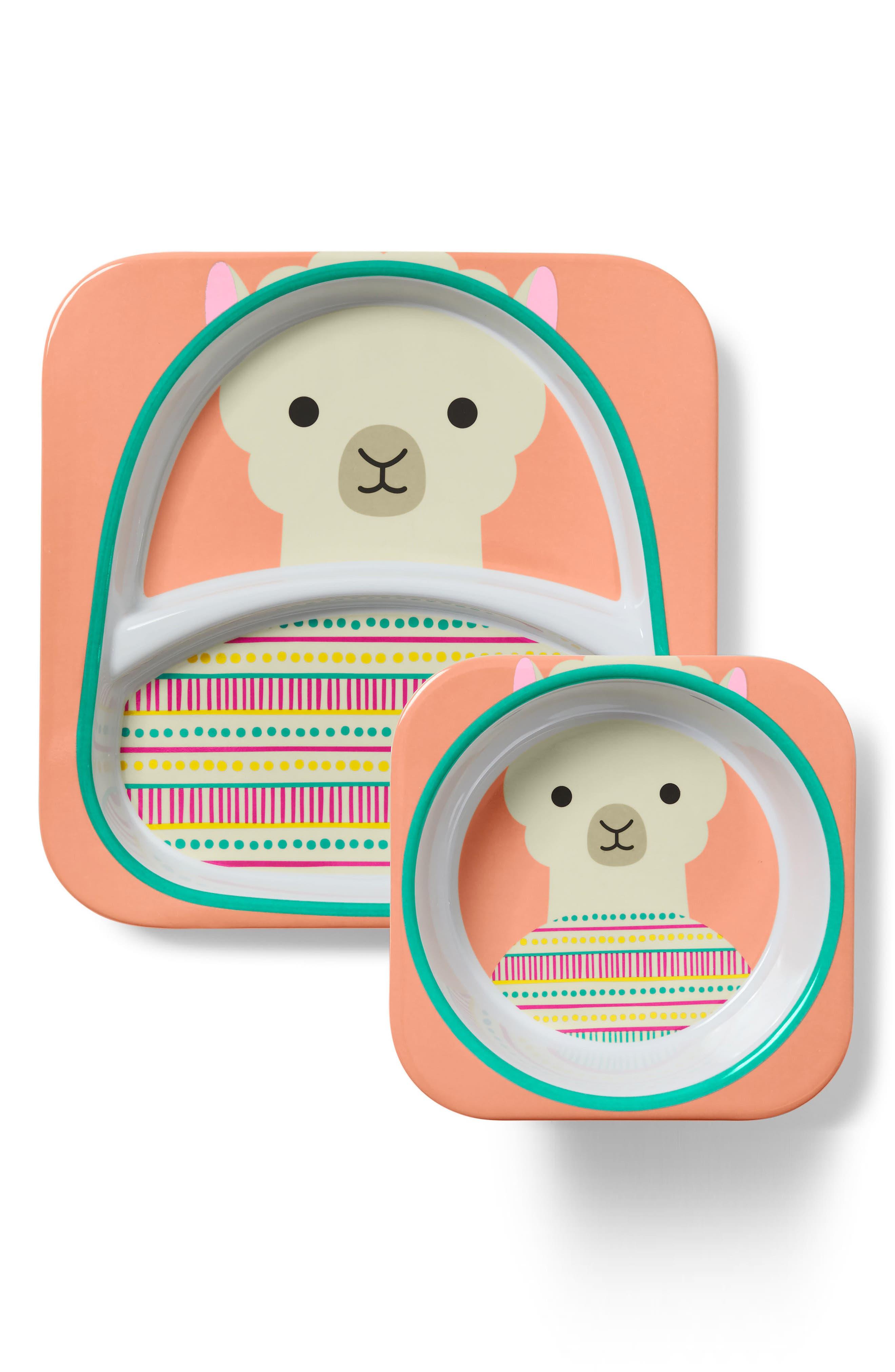 Infant Girls Skip Hop Llama Zoo Melamine Plate  Bowl Set Size One Size  Pink