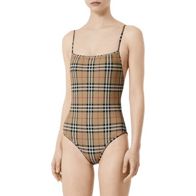 Burberry Check One-Piece Swimsuit, Beige