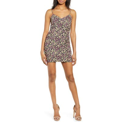 Row A Shirred Side Floral Print Minidress, Black