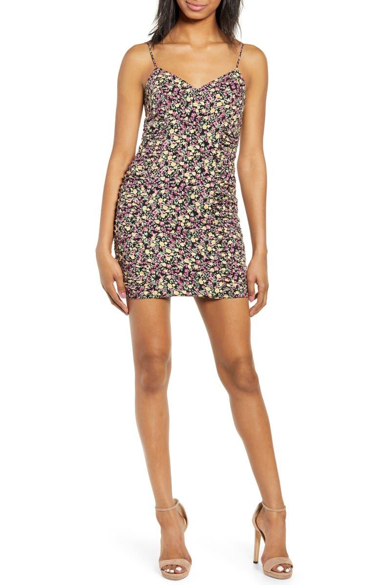 ROW A Shirred Side Floral Print Minidress, Main, color, PURPLE MULTI