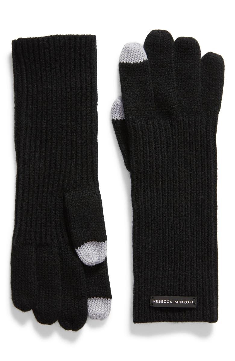 REBECCA MINKOFF Milano Knit Gloves, Main, color, BLACK