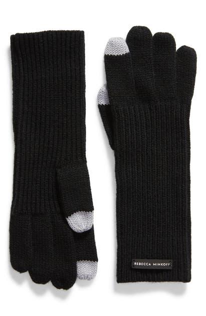 Rebecca Minkoff Milano Knit Gloves In Black