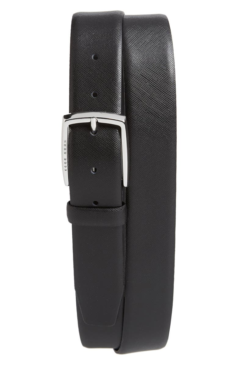 BOSS Celie Saffiano Leather Belt, Main, color, BLACK