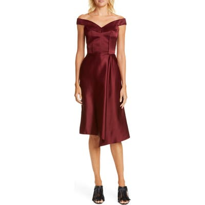 Alexander Mcqueen Off The Shoulder Satin Dress, US / 44 IT - Red