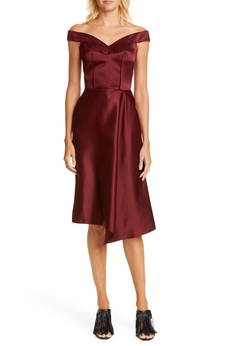 ALEXANDER MCQUEEN Off the Shoulder Satin Dress, Main, color, RUBY