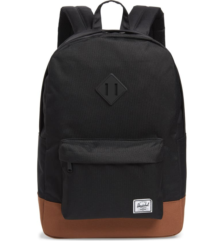HERSCHEL SUPPLY CO. Heritage Backpack, Main, color, BLACK/SADDLE BROWN