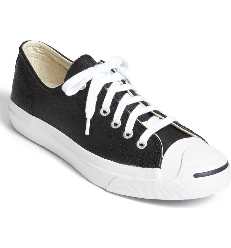 CONVERSE Jack Purcell Leather Sneaker, Main, color, BLACK/ WHITE/ WHITE LEATHER