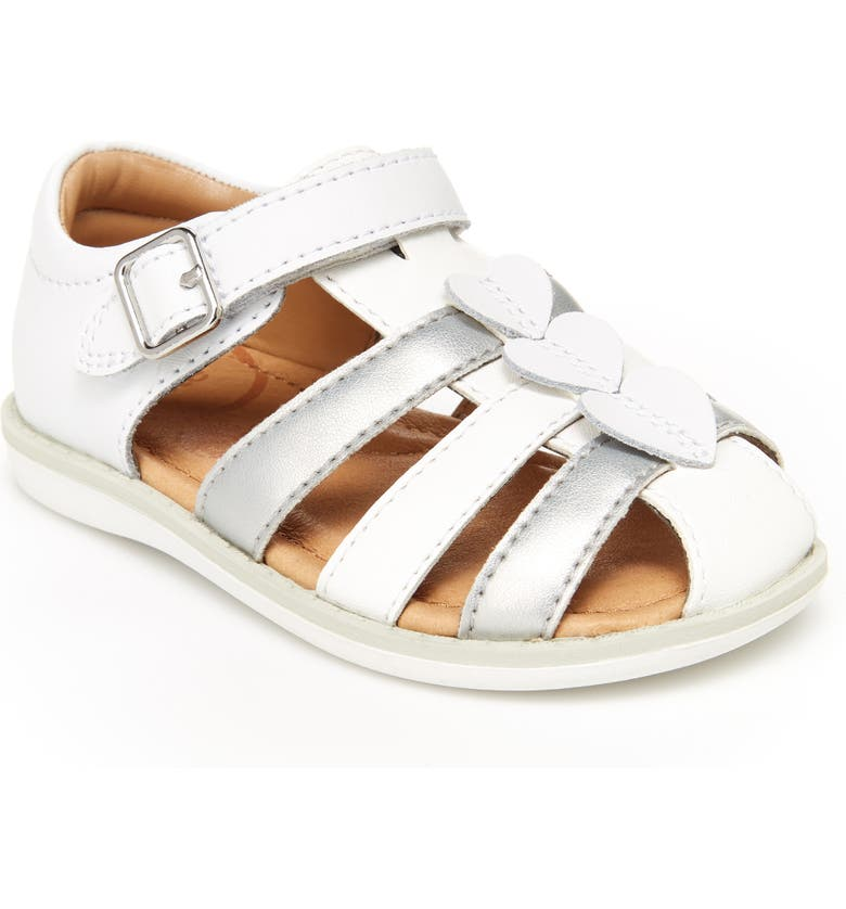 STRIDE RITE Ella Sandal, Main, color, WHITE/SILVER