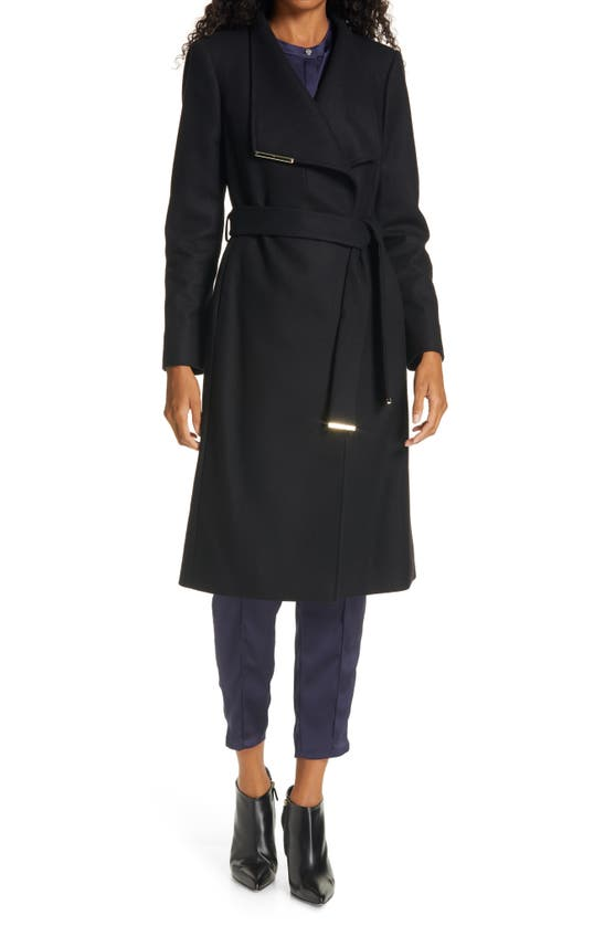 Ted Baker Embellished-trim Wool-blend Wrap Coat In Black