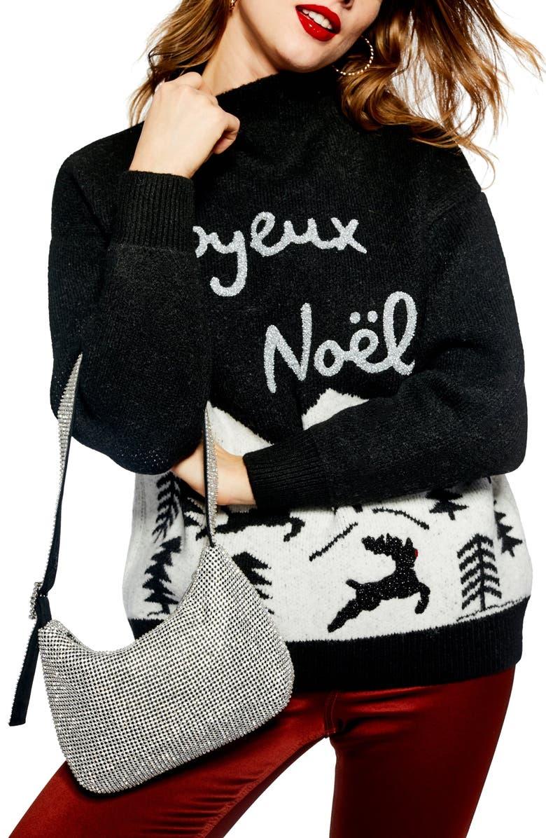 TOPSHOP Joyeux Noël Christmas Sweater, Main, color, 001