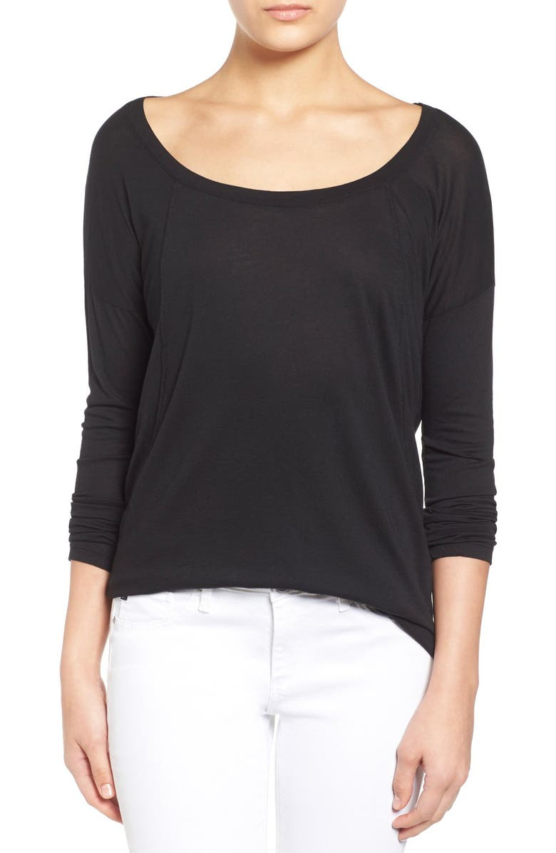 SPLENDID 'Very Light' Jersey Drape Back Long Sleeve Tee, Main, color, 001