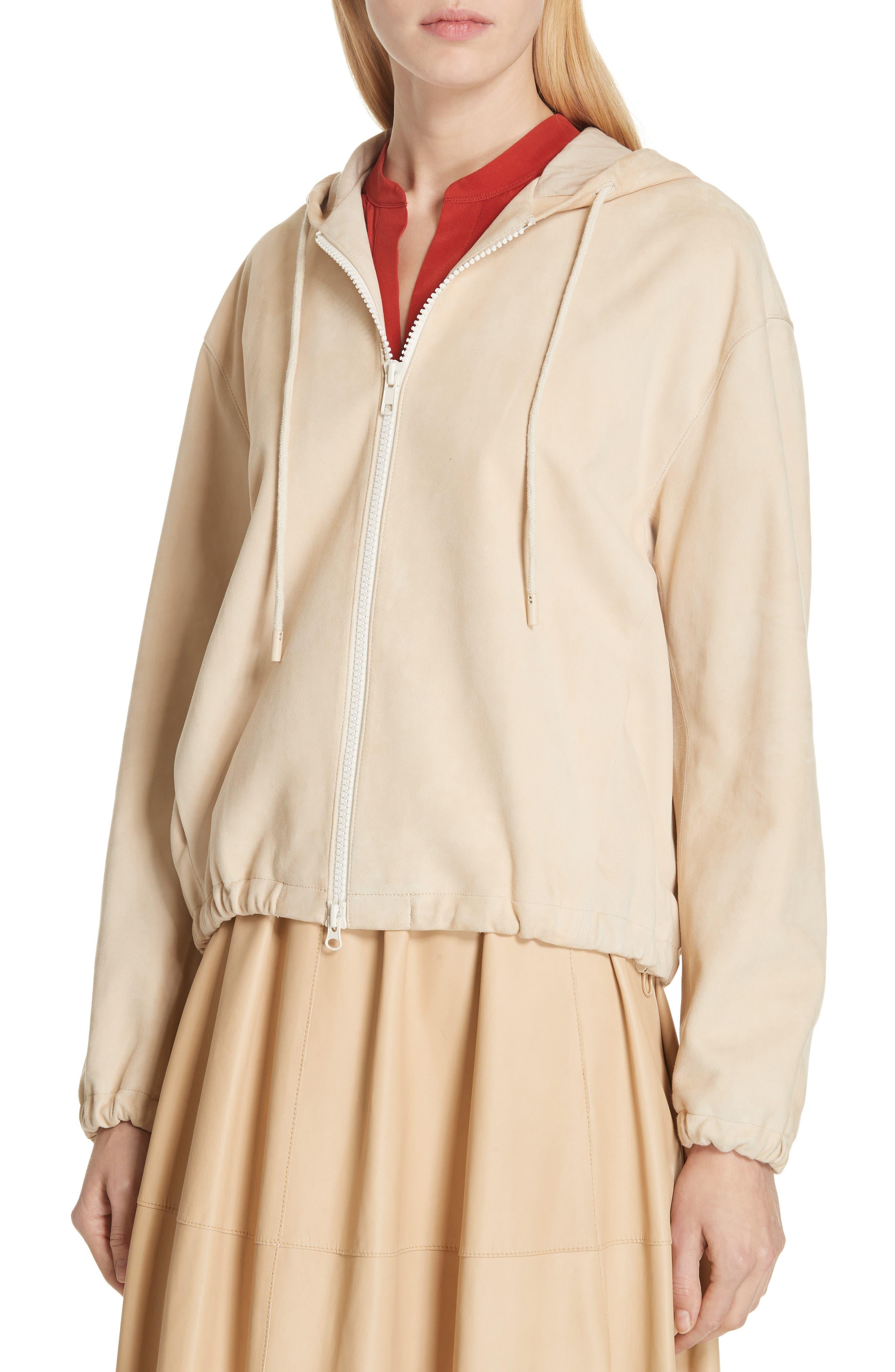 ,                             Suede Zip Hooded Jacket,                             Alternate thumbnail 4, color,                             FENNEL